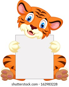 Cute tiger cartoon holding blank sign