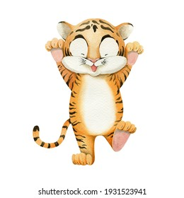 Cute tiger cub. Watercolour illustration. Symbol of the year 2022.