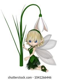 Cute toon blonde snowdrop fairy in a green leafy dress kneeling by a spring snowdrop flower, digital illustration (3d rendering)