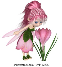 Cute toon fairy in leaf and pink petal dress looking at a spring crocus flower, digital illustration (3d rendering)