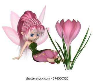 Cute toon fairy in leaf and pink petal dress sitting next to a spring crocus flower, digital illustration (3d rendering)