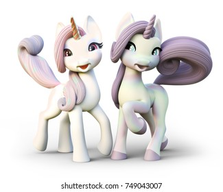 Cute toon fantasy unicorn's on an isolated white background. 3d rendering