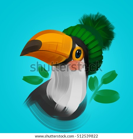 02788b885ac Cute toucan bird in a winter knitted hat. Raster colorful hand drawn  illustration. T
