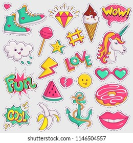 Cute and trendy patches. Colorful pink, yellow and turquoise elements on white background. Collection of retro stickers in 90s style. Raster illustration.