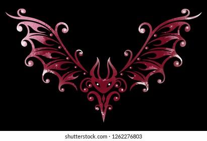 Cute Tribal Tattoo bat, small bloodsucker. Bat illustration, tribal & tattoo style. Red Design.