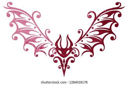 Cute Tribal Tattoo bat, small bloodsucker. Bat illustration, tribal & tattoo style. Red Design