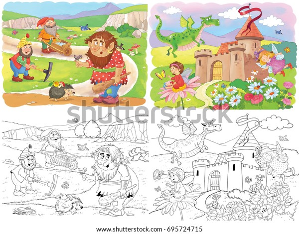 Cute Troll Dwarfs Dragon Fairies Fairy Stock Illustration ...