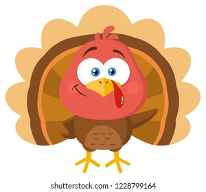 Cute Turkey Bird Cartoon Character Waving. Raster Illustration Flat Design Isolated On White Background