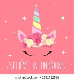 Cute unicorn background.  Illustration