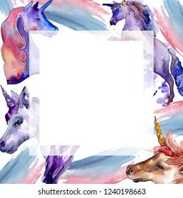 Cute unicorn horse. Fairytale children sweet dream. Rainbow animal horn character. Watercolor background illustration set. Frame border ornament square.