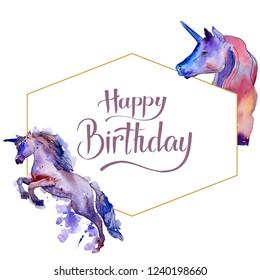 Cute unicorn horse. Happy Birthday handwriting monogram calligraphy. Fairytale children sweet dream. Watercolor background. Frame border ornament crystal. Gold diamond rock jewelry mineral.
