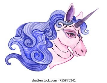 cute unicorn painted by hand in watercolor. Ideal for children's textiles or children's room design