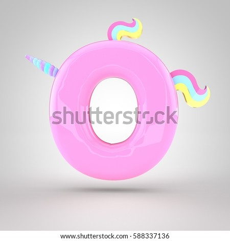 cute unicorn pink letter o uppercase with different colors horn mane and tail 3d