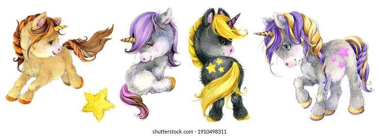Cute Unicorn watercolor hand drawn illustration set. cartoon pony