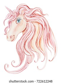 Cute unicorn. Watercolor illustration on white background.