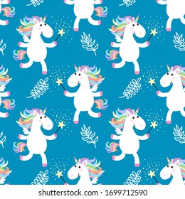 Cute unicorns seamless pattern. illustration. Baby background.