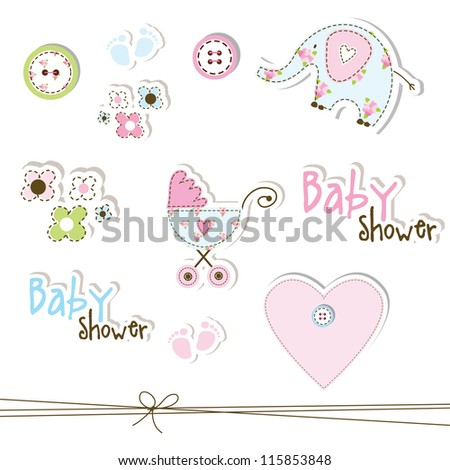 Cute Unique Baby Shower Drawings Baby Stock Illustration 115853848