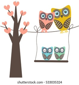 Cute vector illustration of an owl family sitting in the tree. Birds father, nother, dauther and son