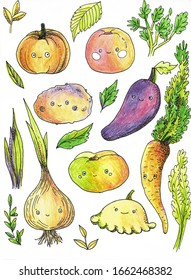 Cute vegetables with eyes, bright illustration. Cartoon vegetable characters.