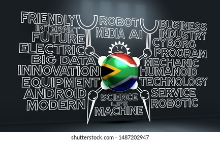 Cute vintage robot. Robotics industry relative words cloud. Cartoon person. Flag of the South Africa. 3D rendering