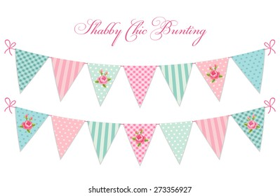 Cute vintage shabby chic textile bunting flags in pastel colors ideal for baby shower, wedding, birthday, bridal shower, retro party etc