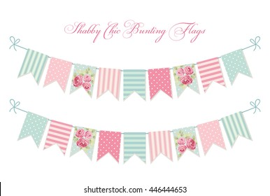 Cute vintage shabby chic textile bunting flags ideal for wedding, birthday, bridal shower, baby shower, retro party decoration etc