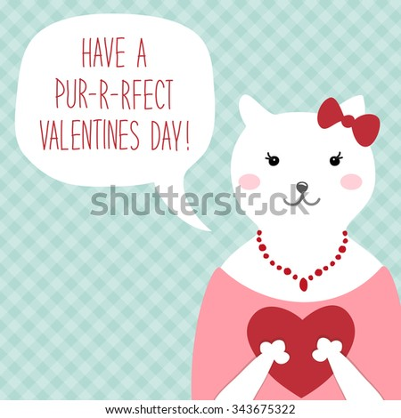 Cute Vintage Valentines Day Card Funny Stock Illustration 343675322