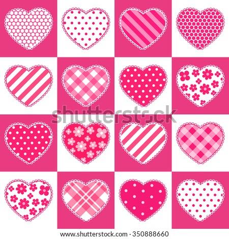 Cute Vintage Valentines Day Seamless Pattern Stock Illustration