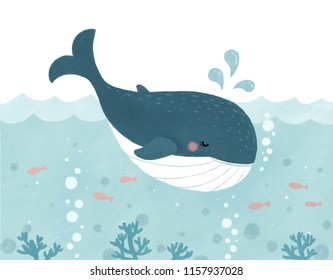Cute water jet whale illustration