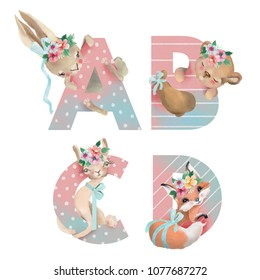 Cute watercolor alphabet with adorable baby animals bunny, bear, llama, fox with flower wreaths and tied bows. Letters A, B, C, D - hand drawn uppercase characters