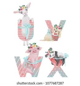 Cute watercolor alphabet with adorable baby animals sheep, puppy (dog), pig, panda with flower wreaths and tied bows. Letters U, V, W, X - hand drawn uppercase characters