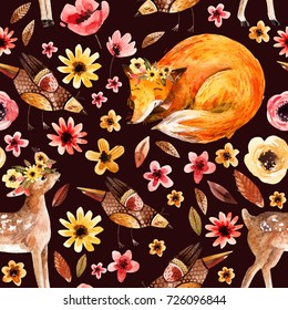 Cute watercolor animals on floral background. Detailed seamless pattern with little fawn, sleeping fox, birds, flowers, petals, leaves, natural elements. Hand painted illustration for nursery design