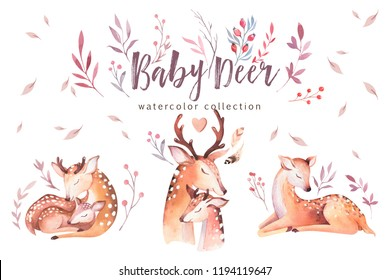 Cute watercolor baby deer animal , nursery isolated illustration for children clothing, Watercolor Hand drawn boho image Perfect for phone cases design, nursery posters,