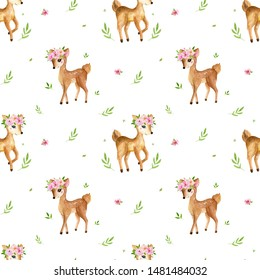Cute watercolor baby deer animal seamless pattern, nursery isolated illustration for children clothing, patterns. Watercolor Hand drawn image Perfect for phone cases design, nursery