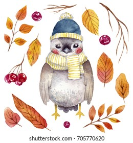 Cute watercolor bird with hand drawn elements : autumn leafs and berries.