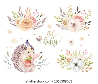 Cute watercolor bohemian baby hedgehog animal poster for nursary with bouquets, alphabet woodland isolated forest illustration. Baby shower animals invitation