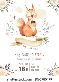 Cute watercolor bohemian baby squirrel animal poster for nursary, alphabet woodland isolated forest decoration illustration. Baby shower animals invitation
