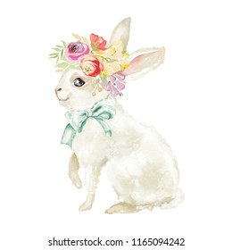 Cute watercolor bunny, rabbit, hare with floral, flowers bouquet and tied bow