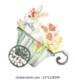 Cute watercolor bunny, rabbit, hare with floral, flowers bouquet and tied bow in a garden wagon