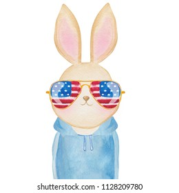 Cute watercolor bunny in sunglasses with USA flag print