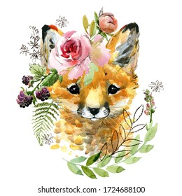 cute watercolor cartoon fox. forest animal illustration.