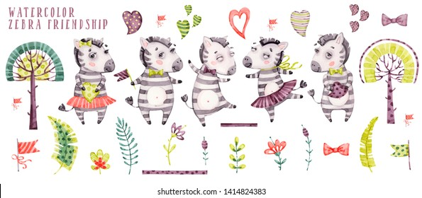 Cute watercolor cartoon zebra collection. Striped horse set in childish style, tropical floral and safari fauna elements isolated on white background. Funny zoo character, aquarelle african animal