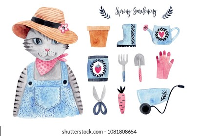 Cute watercolor cat farmer. Watercolor illustration set with gardening tools