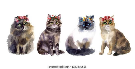 Cute watercolor cat with flowers
