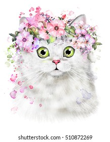 Cute Watercolor Cat illustration. T-shirt print, card. Poster cat. wreath of Flower and splash paint. Isolated, hipster