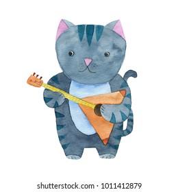 Cute watercolor cat playing the balalaika or guitar