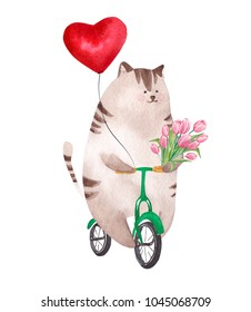 Cute watercolor cat riding bicycle. Happy Valentine's Day card