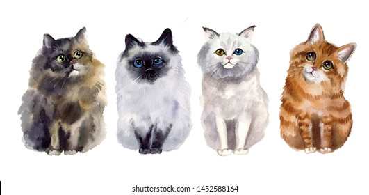 Cute watercolor cats on the white background. Wildlife art illustration. Watercolor graphic for fabric, postcard, greeting card, book, poster, tee-shirt. Illustration, isolation objects