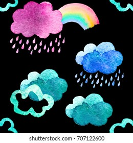 Cute watercolor clouds with rain and rainbow. Seamless pattern with watercolor objects isolated on black background for your design: textile, fabric, postcard.
