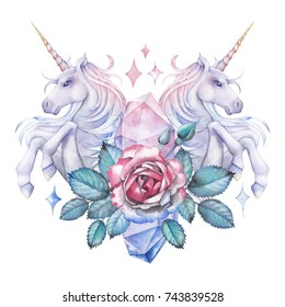 Cute watercolor design with pastel colored unicorn, roses and crystals. Hand painted fantasy collection